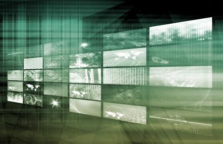 Photo pour Media Telecommunications Concept with Video Wall Art - image libre de droit