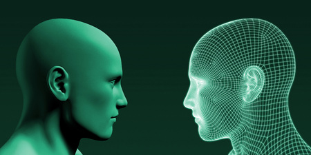 Photo pour Human Wireframe and Digital Consciousness System Concept - image libre de droit