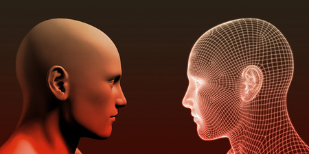 Photo pour Online Personality with Physical Human and Digital Avatar - image libre de droit