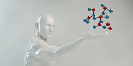 Photo pour Man Holding Molecule Science Research and Development - image libre de droit