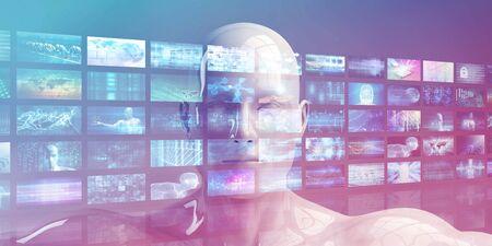 Photo pour Video Monitors Entertainment Multimedia Technology Content Background - image libre de droit