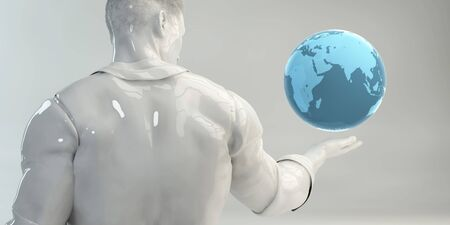 Global Sales with Business Man Holding Globe
