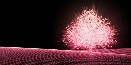 Photo pour Abstract Digital Landscape with Cyber Tree Background - image libre de droit