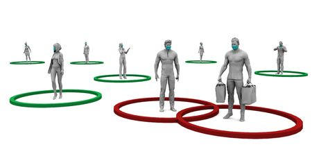 Photo pour Social Distancing and Minimize Physical Contact to Reduce Virus Spread - image libre de droit