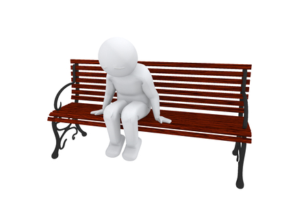 3d man sits on a bench