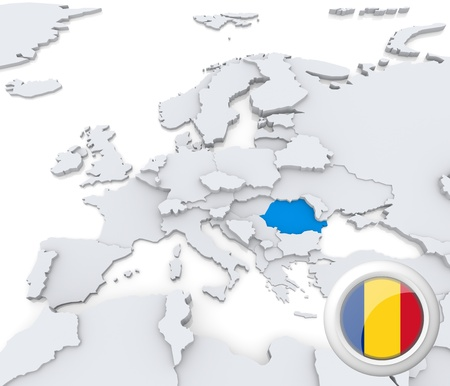 Highlighted Romania on map of europe with national flag ...