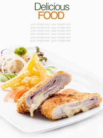 Pork cordon bleu with french fries.