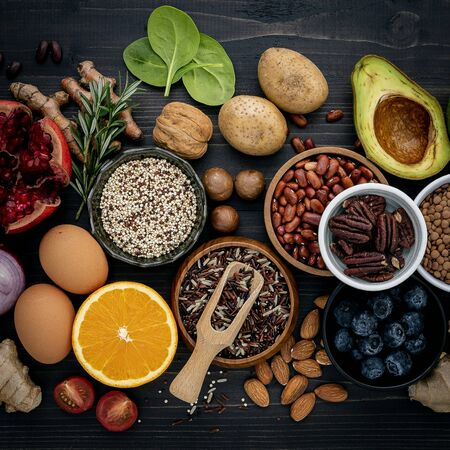 Photo for Ingredients for the healthy foods selection. The concept of healthy food set up on wooden - Royalty Free Image