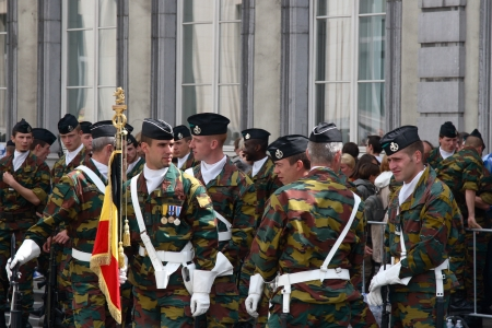 BRUSSELS, BELGIUM - JULY, 21: An unidentified military soldier(s) takes part during a national day parade July 21, 2012 in Brussels, Belgium.