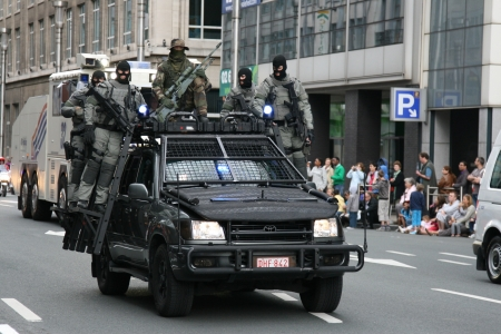 BRUSSELS, BELGIUM - JULY, 21  An unidentified military soldier s  takes part during a national day parade July 21, 2012 in Brussels, Belgium