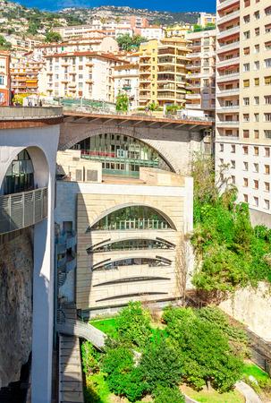 Cityscape and Gare de Monaco of Monte Carlo. Principality of Monaco, French Riviera