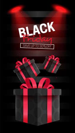 Ilustración de Black friday banner with gifts - Imagen libre de derechos