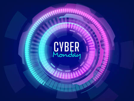 Ilustración de Futuristic cyber monday sale background with lights effects - Imagen libre de derechos