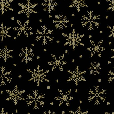 Illustration for Snowflake simple vector seamless pattern. Gold snow on black background. Abstract wallpaper and wrapping decoration. Symbol of winter, Merry Christmas holiday, Happy New Year celebration. - Royalty Free Image