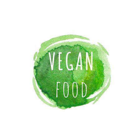 Foto für Vegan food. Eco, organic labels. Green abstract hand drawn watercolor background. Natural, organic food, bio, eco design elements. - Lizenzfreies Bild