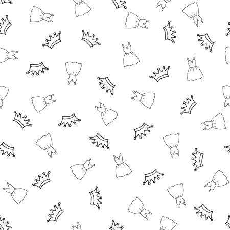 Illustration for Seamless pattern with hand drawn crown and dress. Decorative doodle element for fabric and wrapping paper. Set beauty makeup for cute girls. Vector illustration isolated on a white background. - Royalty Free Image