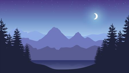 Illustration pour Mountains banner. Smokey rocky panorama with mountains skyline and pine tree forest silhouettes - image libre de droit