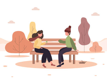 Illustration pour Man and woman have a date in park. Romantic couple sitting on bench and smiling. Two lovers spend time together. Happy autumn background. Vector illustration in flat cartoon style. - image libre de droit