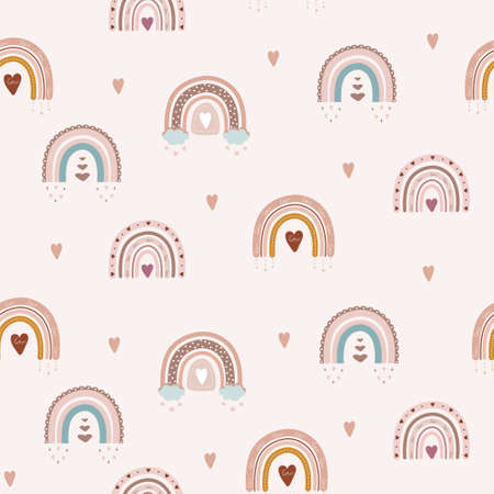 Illustration pour Trendy rainbows in boho style in different color. seamless pattern. Children illustrations for holidays. Doodle art elements. Design for fabric, postcards, bed linens, pillows and wallpaper. - image libre de droit