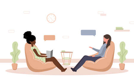 Illustration pour Psychotherapy practice and psychological help. African woman supports female with psychological problems. Therapy and counselling for people under stress and depression. Vector in flat style. - image libre de droit