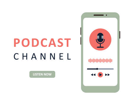 Illustration pour Podcast app in a mobile phone. Listening to music and recording audio broadcast. - image libre de droit