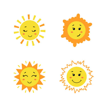 Illustration for Set of cute hand drawn sun. Yellow funny suns with different emotions isolated on white background. Vector childish illustration in flat cartoon style - Royalty Free Image