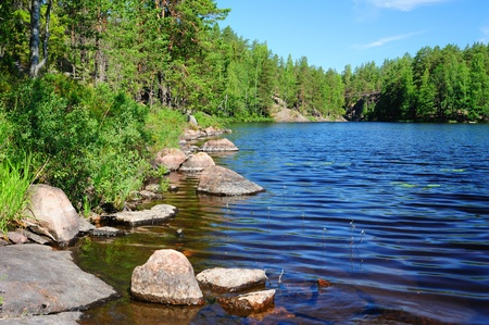 Beautiful forest lake in Finland