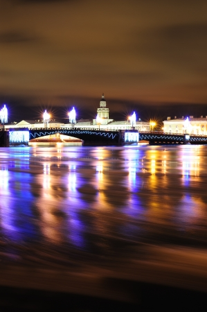 St. Petersburg beautifully decorated for Christmas - view from the Neva river