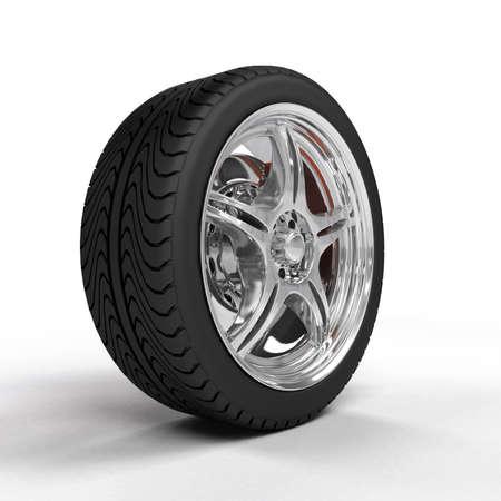 Photo pour Car wheel with steel rims, reflections - image libre de droit