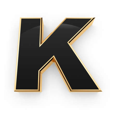 Golden whith black letter K isolated on white background