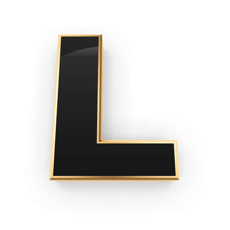 Golden whith black letter L isolated on white background