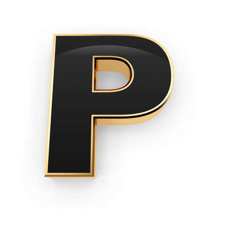 Golden whith black letter P isolated on white background