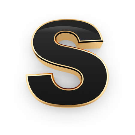 Golden whith black letter S isolated on white background