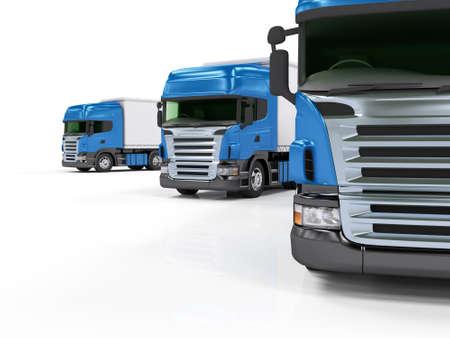 Photo pour Some blue trucks isolated on white background - image libre de droit