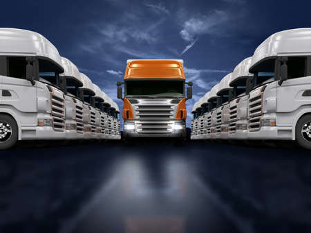 Photo pour Some white trucks and one red leader truck - image libre de droit