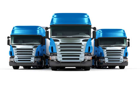 Foto de Some blue trucks isolated on white background - Imagen libre de derechos