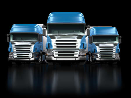 Photo pour Some blue trucks isolated on black background - image libre de droit