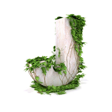 Letter J threads covered with ivy isolated on white background.