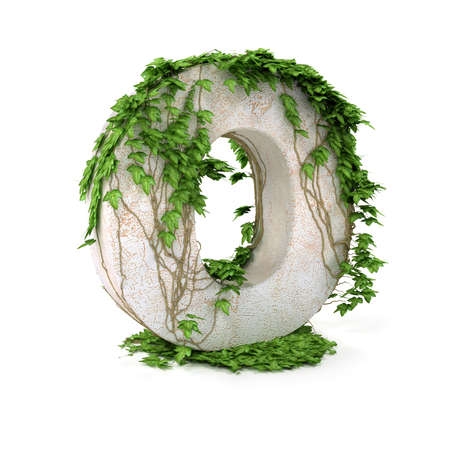 Letter O threads covered with ivy isolated on white background.