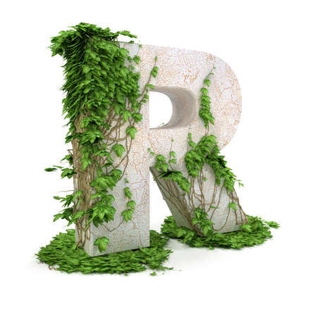Letter R threads covered with ivy isolated on white background.