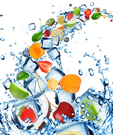 Fresh fruit in water splash with ice cubes