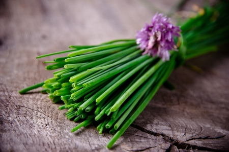 Fresh  chive on wooden background