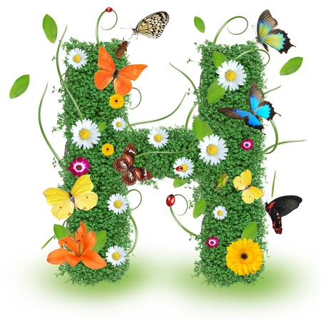Beautiful spring letter H