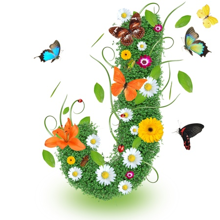 Beautiful spring letter J