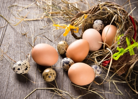 Eggs in brown basket