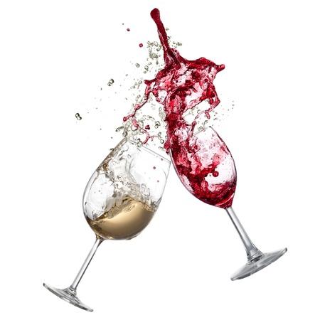 White and red wine splash