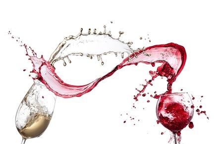 Wine splash over white background