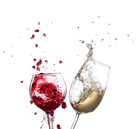 Wine splash over white background