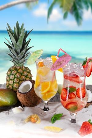Summer drinks on sunny beach