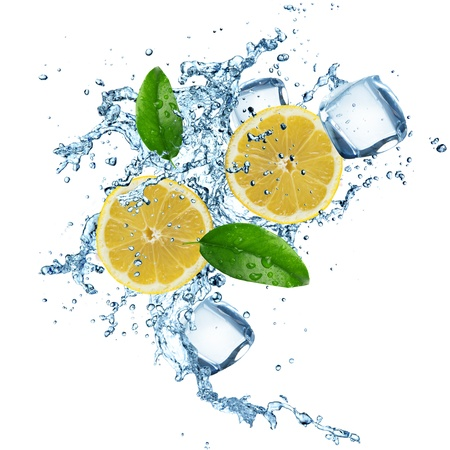 Lemons in water splash isolated on a white background